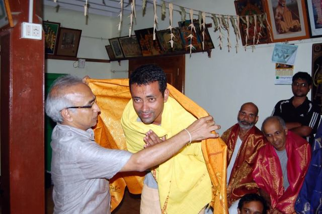 Being felicitated by Narayanan. Photo by Durai
